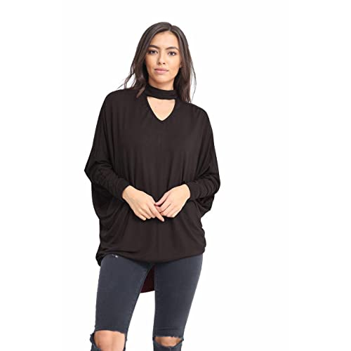795830345a Elegant Vaps Womens Choker Neck Baggy Stretch Batwing Hilo Top Long Sleeve  Shirt Plus Size 8