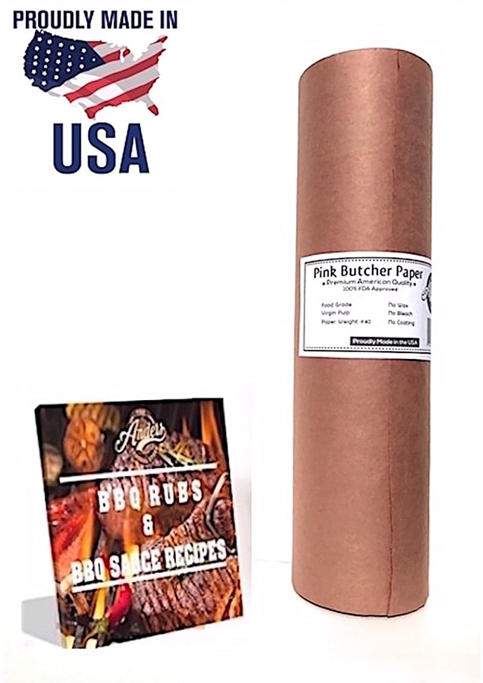 """Anders General Store Pink Butcher Kraft Paper Roll – 18"""" x 175' + FREE eBook 