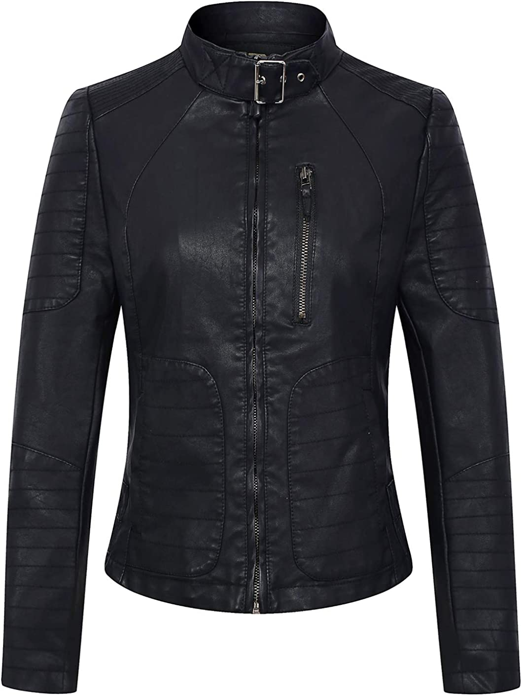 chouyatou Women's Cool Round Collar Zip-Front Perfect Moto Quilted Pu Leather Biker Jacket