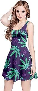 CowCow Womens Marijuana Cannabis Leaf Plant Marihuana Leaves Sleeveless Dress, XS-5XL
