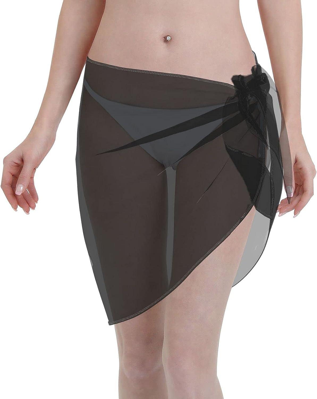 Kakekedianzi Women Short Sarongs Beach Wrap Wraps Chiffon Cover Ups for Swimwear Black