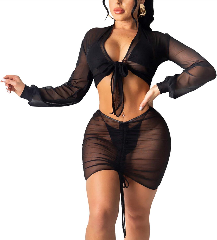 2 Piece Cover up Skirt Set - Women Long Sleeve Sheer Mesh 2 Piece Swimsuit Beach Cover Up Dress