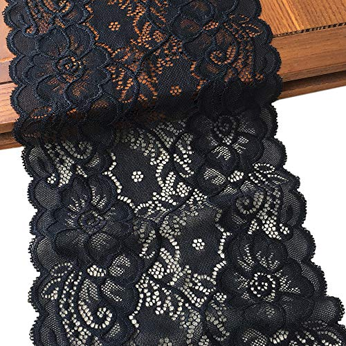 LaceRealm 7 Inch Wide Floral Stretchy Lace Elastic Trim Fabric for Garment & DIY Craft Supply- 5 Yard (7020 Black)