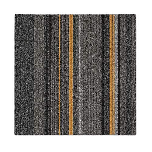 1 m² Teppichfliesen selbstliegend Köln für Büro & Gewerbe - gestreifte Fliesen Teppiche je 50x50 cm - robuster Teppichboden - Bodenfliesen mit rutschhemmendem Vinyl-Rücken (4 Stück)