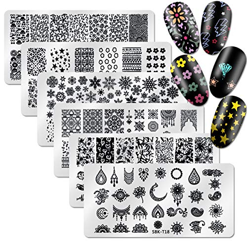 DANNEASY 6Pcs Nail Stamping Plate Set 1Nail Stamper 1Scraper 1Storage Bag Geometry Winter Design Nail Template Image Plate Manicure Stamp Kit