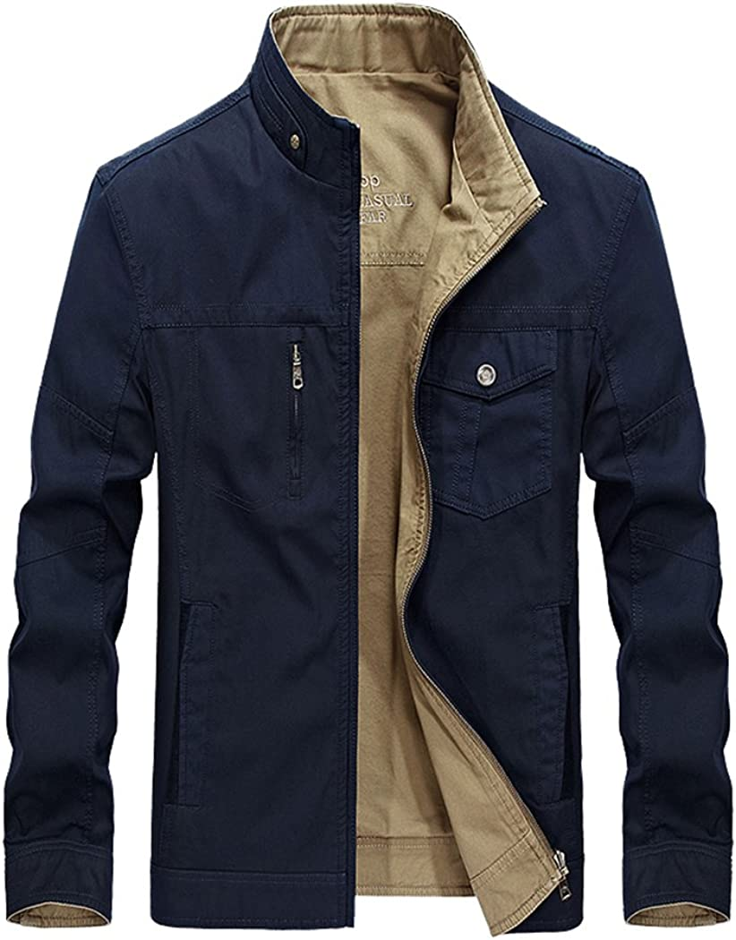 Real Spark Men's Casual Reversible Cotton Lightweight Jacket Coat Military Windbreaker
