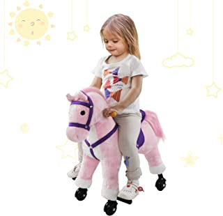 SUNVIVI OUTDOOR Pink Rocking Horse, Ride On Toy Pony Plush Walking Rider Rolling Horse with Wheels/Sound for Kids Birthday Christmas Children's Day Gifts