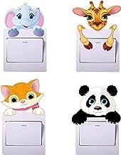 Paquete de 4 pegatinas para interruptores de luz de dibujos animados de animales, pegatinas de panda, pegatinas de jirafas...