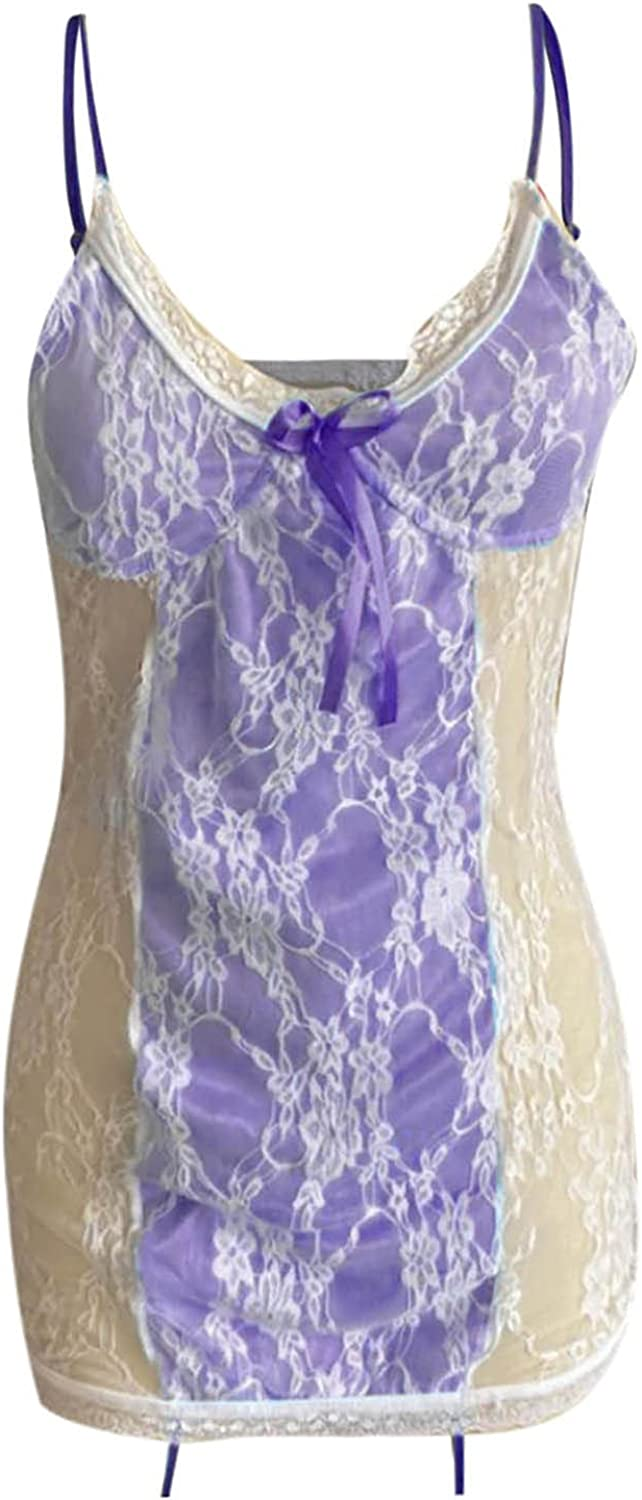 Womens Lace Teddy Underwear, wodceeke Sexy Plus Size Sling Nightdress Lingerie for Women Mesh See Through V Neck Pamajas