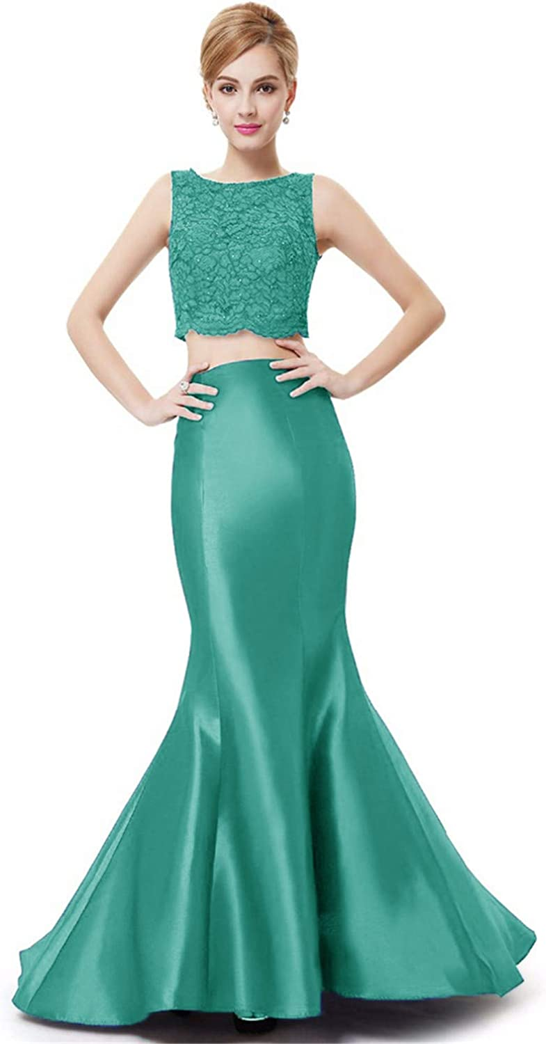 WHZZ Lace Two Piece Prom Dresses Satin Mermaid Evening Formal Dresses Gowns
