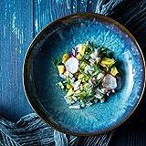 HUAHUA Bowls Cuenco azul de la vendimia de cerámica tazón de sopa Ramen 8 pulgadas placa de estilo japonés vajilla esmaltada de la fruta cuencos de postre cuencos