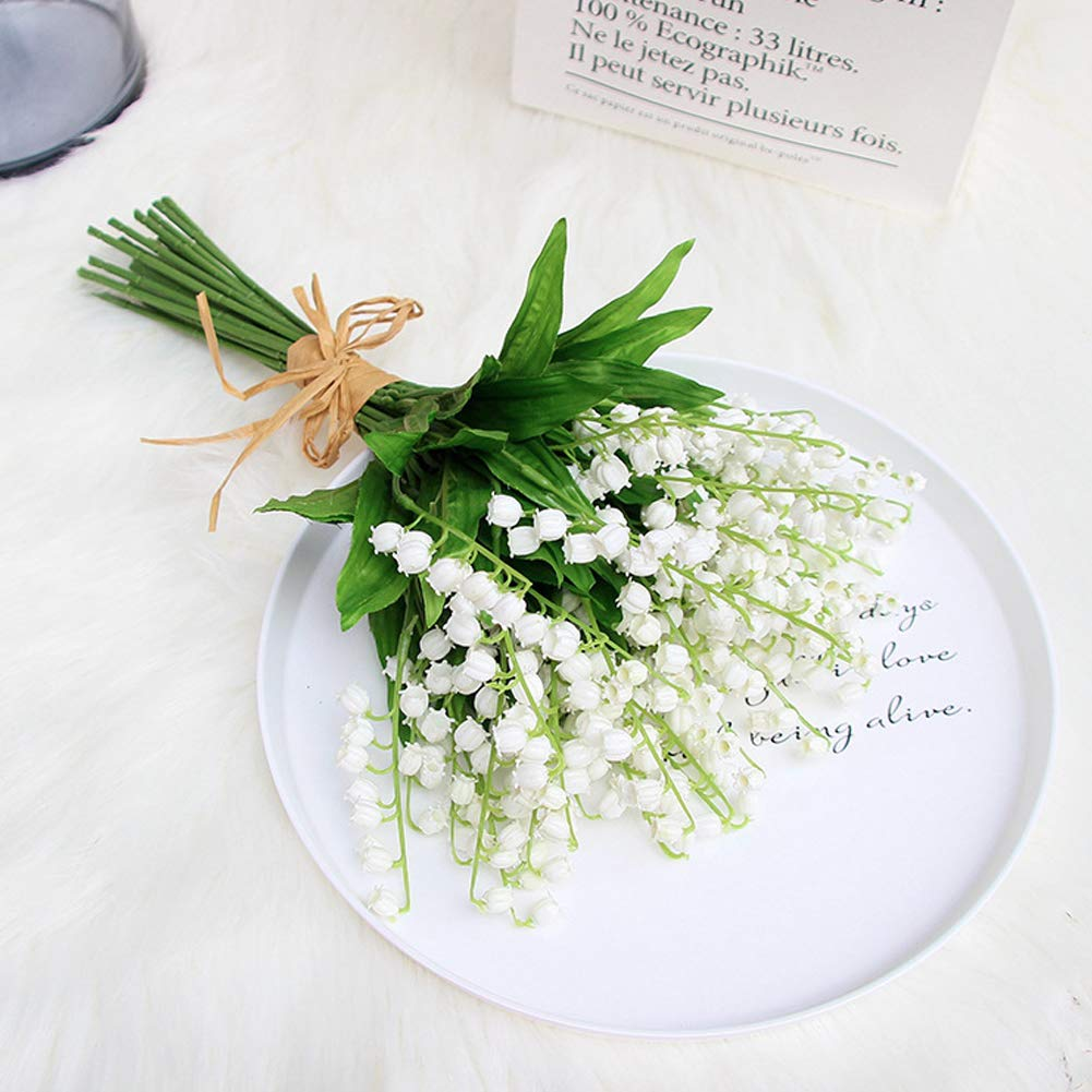 6 Pcs Lily Of The Valley Artificial Flowers Vivid Silk Lily Flowers Bouquet Plastic Flower Bouquet For Wedding Home Party Decor Amazon Co Uk Kitchen Home
