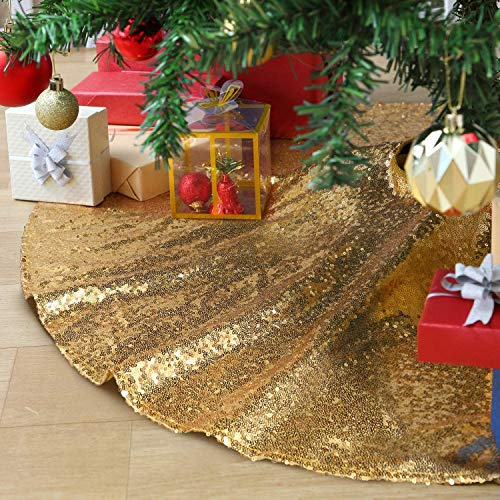 B-COOL 48 Inch Gold Xmas Tree Skirt Christmas Decorations Sequin Tree Skirt Cover New Year Party Indoor Holiday Tree Ornaments