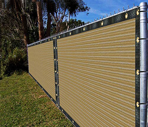 Ifenceview 6'x3' to 6'x50' Beige Shade Cloth/Fence Privacy Screen Fabric Mesh Net for Construction Site, Yard, Driveway, Garden, Railing, Canopy, Awning 160 GSM UV Protection (6' x 30')