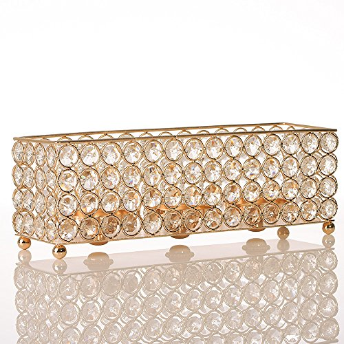 VINCIGANT Gold Crystal Tealight Candle Holders Tray for Dinning Room Coffee Table Decorative Centerpieces,Gifts for Anniversary/Christmas