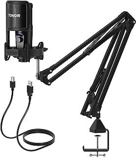 USB-condensator gaming-microfoon, 192 kHz/24 bit, TONOR computer pc microfoonkit met handige volumeregeling, monitoring zo...