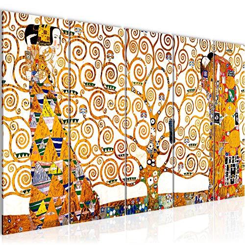 Bilder Gustav Klimt - Tree of Life Wandbild 200 x 80 cm Vlies - Leinwand Bild XXL Format Wandbilder Wohnzimmer Wohnung Deko Kunstdrucke Gelb 5 Teilig - MADE IN GERMANY - Fertig zum Aufhängen 700055a