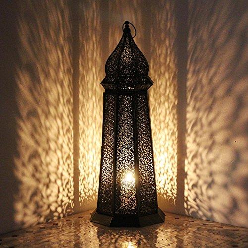 albena shop 73-118 Torre orientalische Laterne Windlicht schwarz 58cm Metall (58 cm)