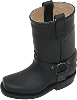 Unisex Kids Genuine Soft Cow Hide Black Leather Motorcycle Harness Boots
