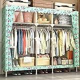 AGWa Wie zu Hause tragbarer Kleidung eines Schrank Schrank Wandschrank-Organisatoren Speicher-Wandschrank mit Thick Polyester-Baumwolltuch-Stoffe und Hanging Rod Platzsparend Organizer Kabinett, leic