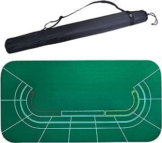 ポーカーパッド ポータブルポーカーテーブルトップ180 * 90メートルドラゴン&ampTigerバカラレイアウトカジノポーカーラバーテーブルクロスグリーン表マットボードショルダーバッグと布 卓上レイアウトゲーミングマット