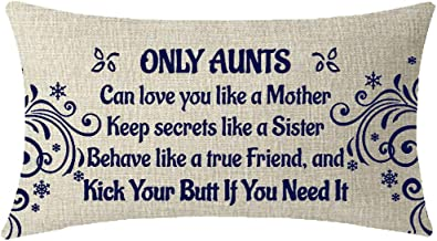 NIDITW Birthday Gift to Aunt Only Aunt Can Love You Like Mother Lumbar Cotton Burlap Linen Cushion Cover Pillow Case Cover Chair Couch Decorative Rectangular 12x20 Inches