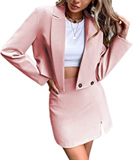 Dellytop Women's Business Casual Blazer Jackets and High Waisted Pencil Mini Skirt Suit Set Two Piece Outfits