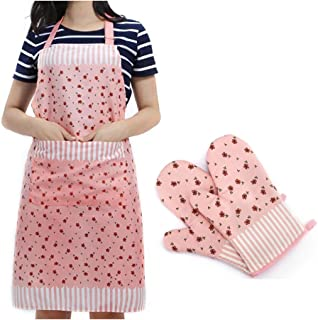 FashionBoutique and Practical Apron (suitable for kitchen,cafe,working shop) + Set of 2 Lovely Heat Resistant Cotton Oven Mitts (Adult Size, Candy Pink)