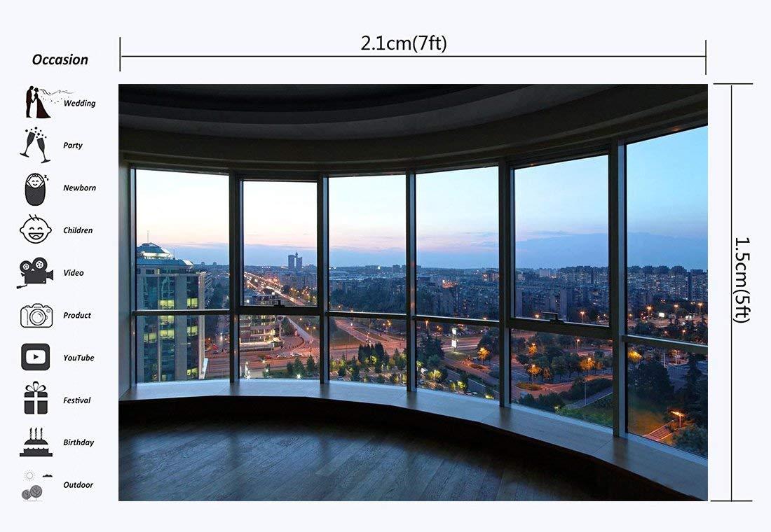 vrupi 7X5FT Oficina Despacho Fondo Rascacielos Moderno Edificio Luces Brillantes Ciudad Nueva York Vista Cielo Azul Naturaleza Vinilo Fotografía Fondo Niños Adultos Estudio fotografía Apoyos CA1116: Amazon.es: Electrónica