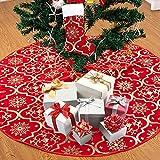Joycabin Falda del Árbol de Navidad, Alfombra de Adorno de Árbol de Navidad de 120 cm con Copos de Nieve Dorados para Fiesta año Nuevo decoración