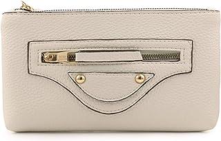 Otto Angelino Designer Damen Clutch Geldbörse aus Leder mit Reißverschluss (Weiß)