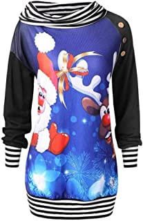 AOJIAN Womens Ugly Christmas Sweater Long Sleeve Hoodie Santa Claus Printing Striped Button Skew Neck Sweatshirt Pullover