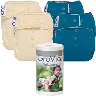 Cloth Diaper Bundle for Natural Parenting – (4) Reusable, Washable O.N.E. Diapers (2 Vanilla, 2 Abalone) – (1) Fragrance Free BioLiner 200ct