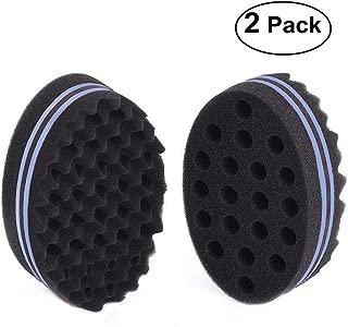 BERON Big Holes Afro Braid Style Coil Wave Hair Curl Sponge Brush for Natural Hair (2 Pcs Black/Blue)