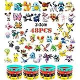 OMZGXGOD - 48 Piezas Pokemon Pikachu Monstruo Mini Figuras + 16 Pulseras de Silicona