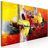 murando Quadro Astratto 150x50 cm Stampa su tela in TNT XXL Immagini moderni Murale Fotografia Grafica Decorazione da parete 1 parte rosso giallo a-A-0360-b-a