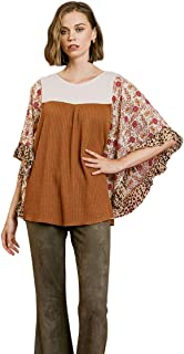 Umgee Women's Floral Mixed Print Waffle Knit Top