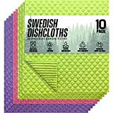 Swedish Dishcloths Cellulose Sponge Cloths for Kitchen, 10 Pack of Eco-Friendly No Odor Reusable...
