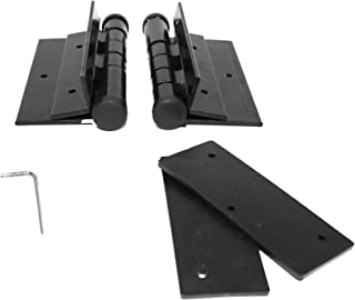 Pair of Aluminum Black Self-Closing Fence Gate Hinges for Aluminum | Vinyl | Iron | Wood |
