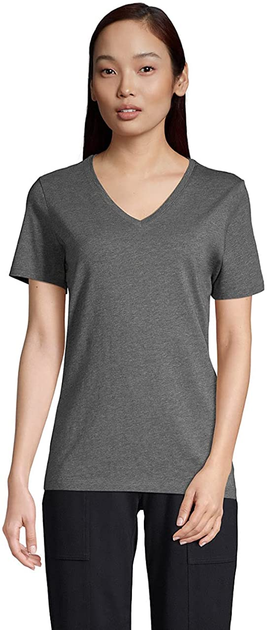 Lands' End Women's Relaxed Sales results No. 1 Supima V-Neck Cotton Sacramento Mall T-S Short Sleeve