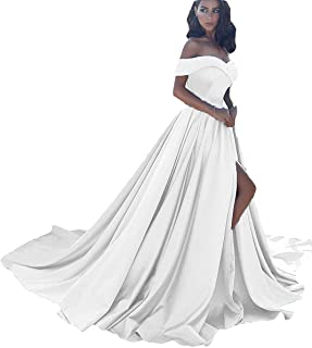 c7e252d8eccd Jazylynbride Women's Off The Shoulder A Line Satin Prom Dress Long Formal  Evening Gown with Slit