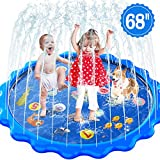 MOZOOSON Splash Pad Sprinkler for Kids in Garden Outdoor Inflatable Water Toys for Toddler Kids ab 1 Year Old, Slip n Slide for Girls Boys Dogs 0.5mm Thickness,Outside Wading Pool for Learning Toys