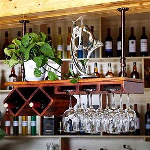 HaohaoCD bar sospensione Bancone da bar Portabottiglie Ristorante Casalinghi Wineglass Rack rovesciato Retro Iron art + Legno massello Portabottiglie