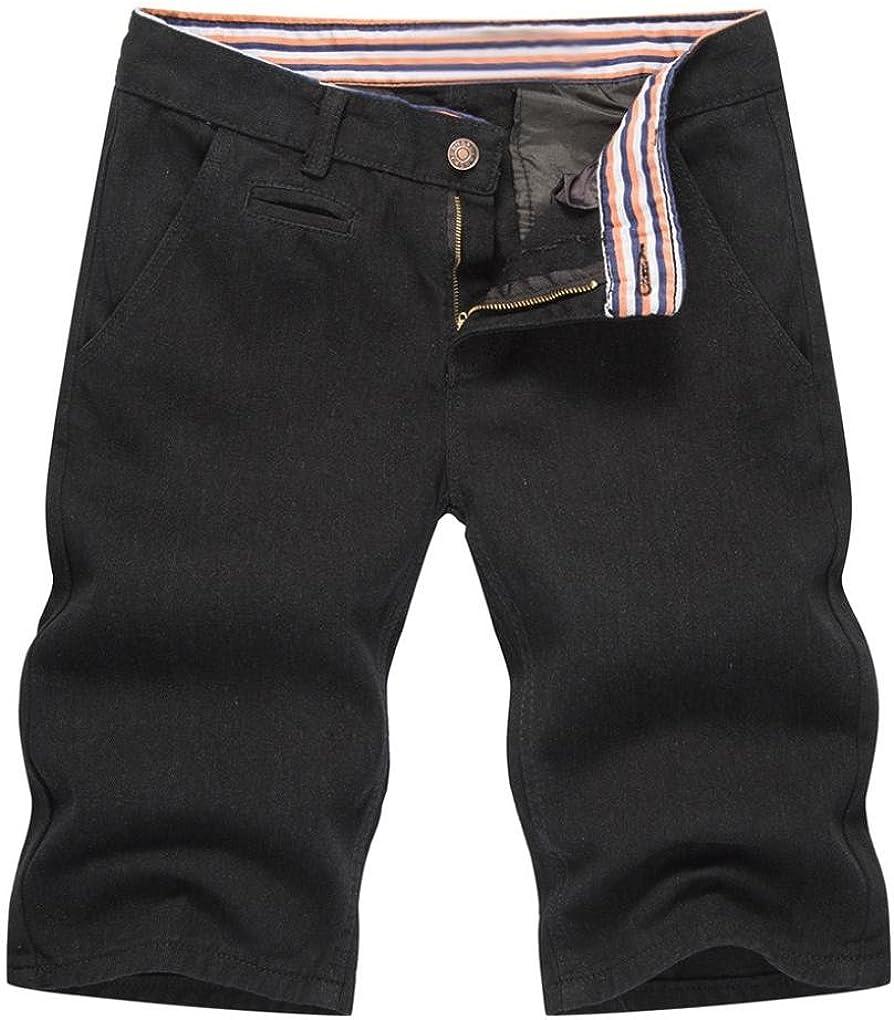 RAISINGTOP Mens Teen Boys Summer Denim Shorts Tapered Outfits Casual Capri Jeans Pants Slim Fit Lounge Fashion New