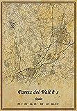 Póster de Parets del Vallès de España con diseño de mapa de Parets del Vallès, impresión en lienzo de estilo vintage, sin marco, regalo de 40 x 50 cm