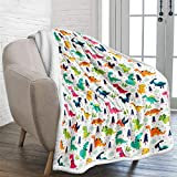 Dinosaur Throw Blanket Jurassic Dinosaur Printed Fleece Sherpa Blanket for Kids Boys Cozy Microfiber Plush Cartoon Solid Blanket for Bed Couch Camping 50'x60'