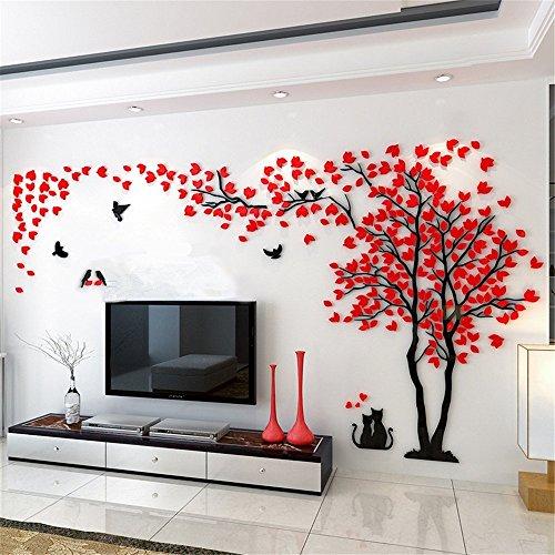 Kenmont DIY 3D Riesig Paar Baum Wandtattoos Wandaufkleber Kristall Acryl Wandtattoo Aufkleber Vögel Vine Zweig Wandkunst Wohnzimmer Schlafzimmer Kinderzimmer Sticker (Small, Rot, Links)