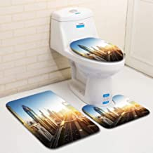 MTSJTliangwan Home Bathroom 3 Piece Sets, Included Bath Area Rug+Contour Mat+Lid Toilet Seat Cover Dubai Skyline in Sunset time United Arab Emirates Flannel Carpet
