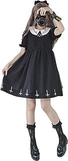 ロリータ服 ワンピース コスプレ 黒十字 森ガール 姫袖 通勤 半袖 (M, 半袖)