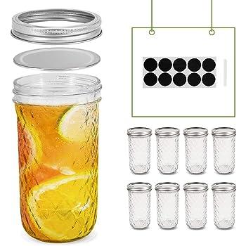 FRUITEAM 24 oz Mason Jars with Lids, Quilted Crystal Jars- Set of 8, Glass Canning Jars Ideal for Fruit & Vegetable Slices, Pickles, Tomato based Juices & Sauces